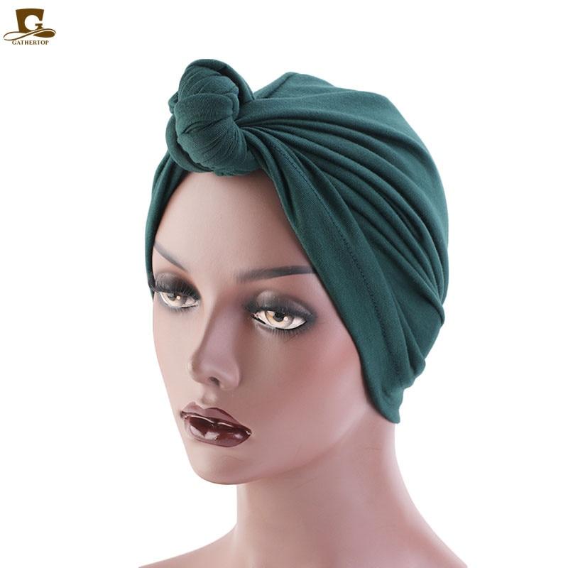 Women Tie Turban Hat Bohemian Style Jersey Top Knot Turban African Twist Headwrap Ladies Hair Accessories India Hat Chemo Cap