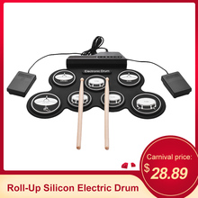 USB рулонные кремниевые электрические барабаны набор цифровых электронных барабанных колодок набор 7 барабанных колодок с барабанными палочками педали для начинающих