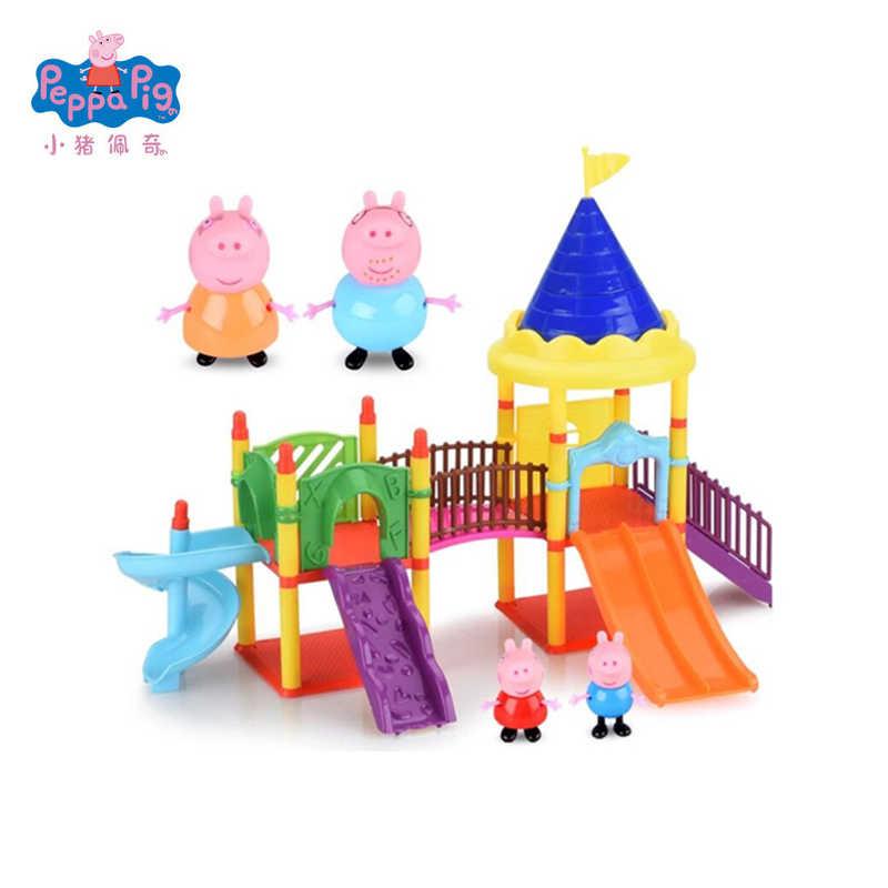25 piezas Peppa Pig sala de juegos de clase música Villa Jardín de lujo  hogar comedor coche escena juguete figuras juego de juguete regalo