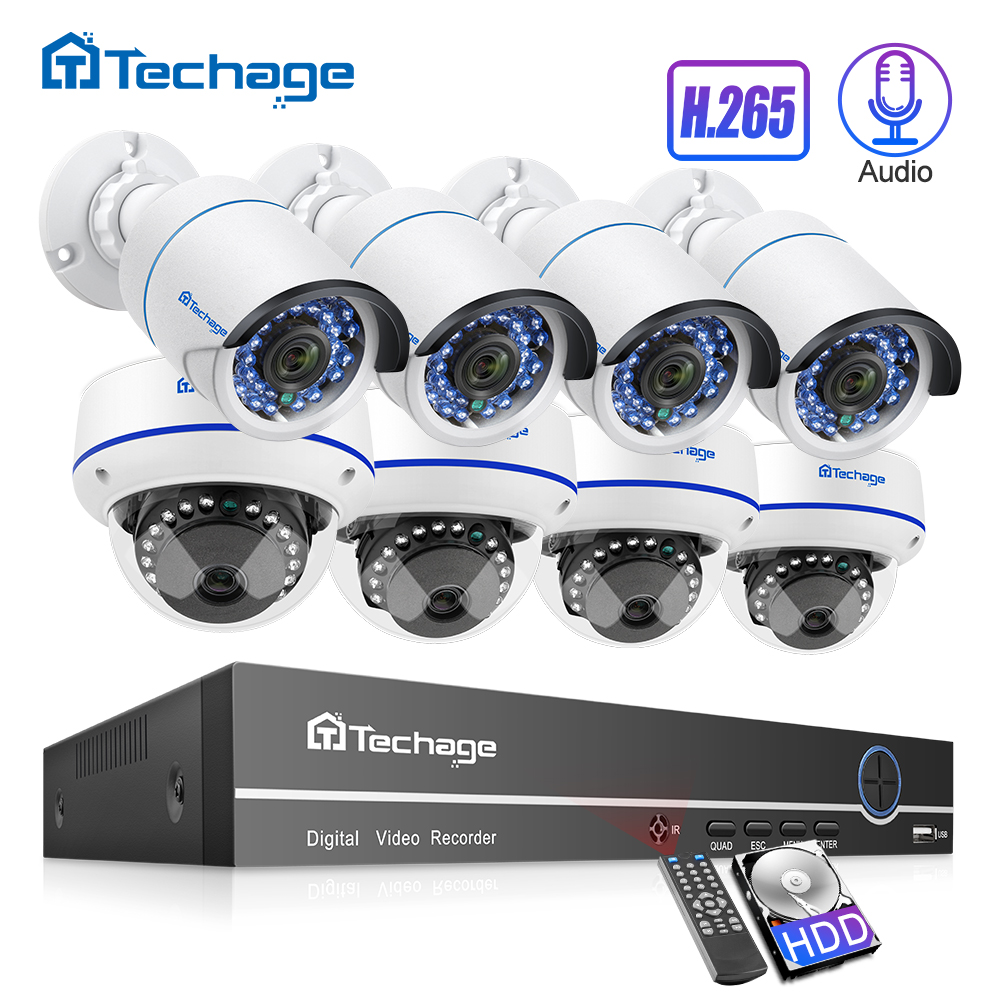 H.265 8CH 1080 P HDMI POE NVR-kit Tot 16CH CCTV-systeem 2MP Indoor Outdoor Audio Dome IP Camera Videobeveiliging Bewakingsset