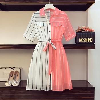 COIGARSAM 4XL Plus Size Chiffon Women dress New Summer Short Sleeve Dresses Red 8004 2