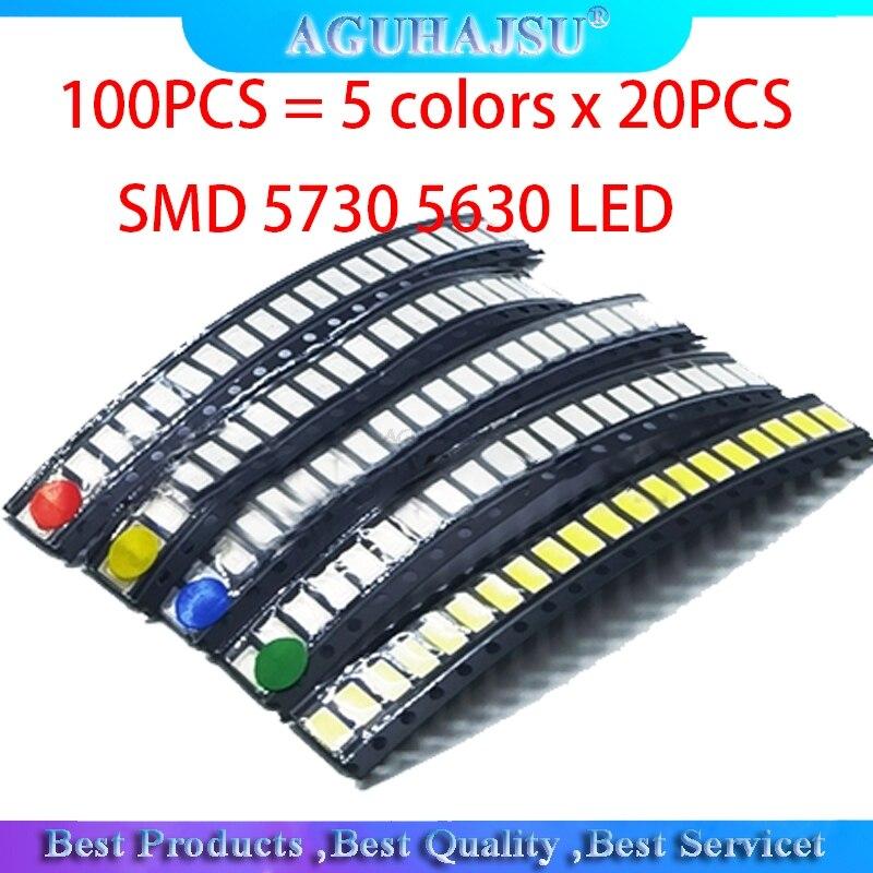 100 шт. = 5 цветов x 20 шт. SMD 5730 5630 Светодиодный диодный Ассортимент Комплект светодиодный диодный комплект зеленый/красный/белый/синий/желтый