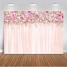 Mocsicka photography backdrops wedding party pink floral Flower wall curtains love Bridal shower photo studio photocall boda