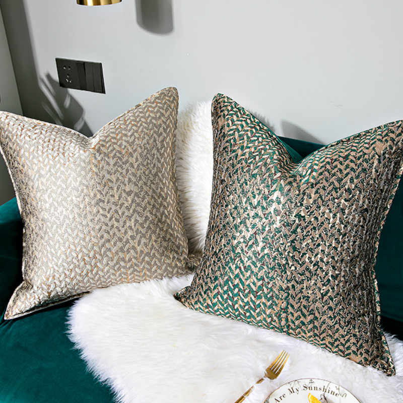 DUNXDECO Cushion Cover Decorative Pillow Case Modern Simple Luxury Leaf Jacquard Champagne Coussin Sofa Chair Square Bedding