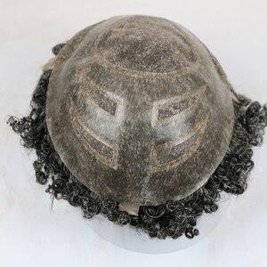 Image 4 - SimBeauty 10mm האפרו Mens פאה 10x8 אינץ החלפת שוויצרי תחרה וpu פאה לגברים רמי שיער טבעי mens פאה