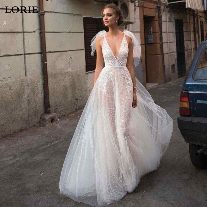 LORIE Boho A Line Lace Wedding Dresses 2019 Sexy V Neck Princess Bride Dresses Sexy Backless Wedding Gowns Vestidos De Novia