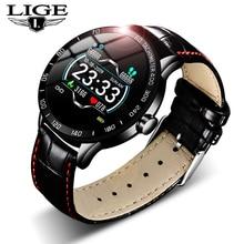 LIGE 2019 Neue leder smart uhr männer leder smart uhr sport Für iPhone Herz rate blutdruck Fitness tracker smartwatch