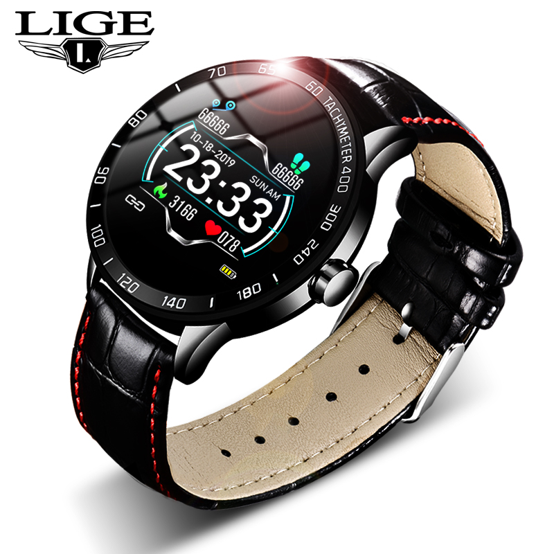 LIGE 2019 New leather <font><b>smart</b></font> <font><b>watch</b></font> <font><b>men</b></font> leather <font><b>smart</b></font> <font><b>watch</b></font> sport For iPhone Heart rate blood pressure Fitness tracker smartwatch image