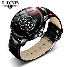 Lige 2019 novo couro relógio inteligente dos homens de couro relógio inteligente esporte para iphone freqüência cardíaca pressão arterial fitness rastreador smartwatch