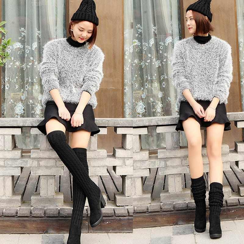 Mode Vrouwen Laarzen Knie Hoge Elastische Slanke Herfst Winter Warme Lange Dij Hoge Gebreide Laarzen Vrouw Schoenen
