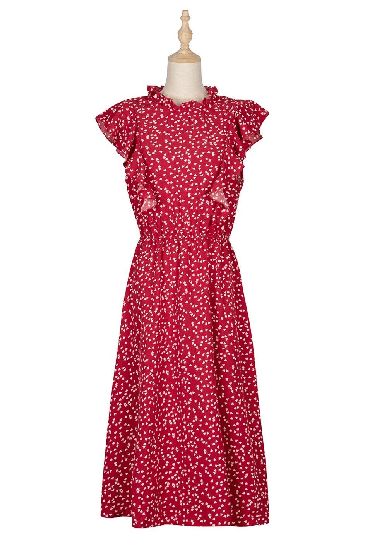 Dot Print Butterfly Sleeve Ruffles Long Chiffon Dress 6