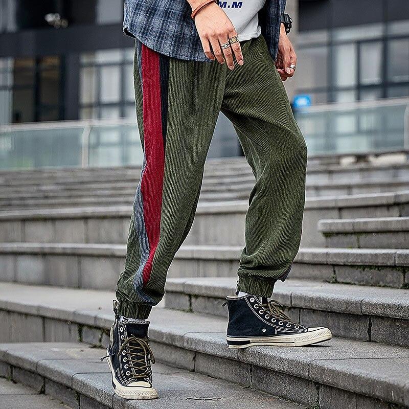 Флисовые Мужские Модные Цветные вельветовые штаны, спортивные штаны, повседневные эластичные штаны-шаровары с полосками радуги в стиле ретро