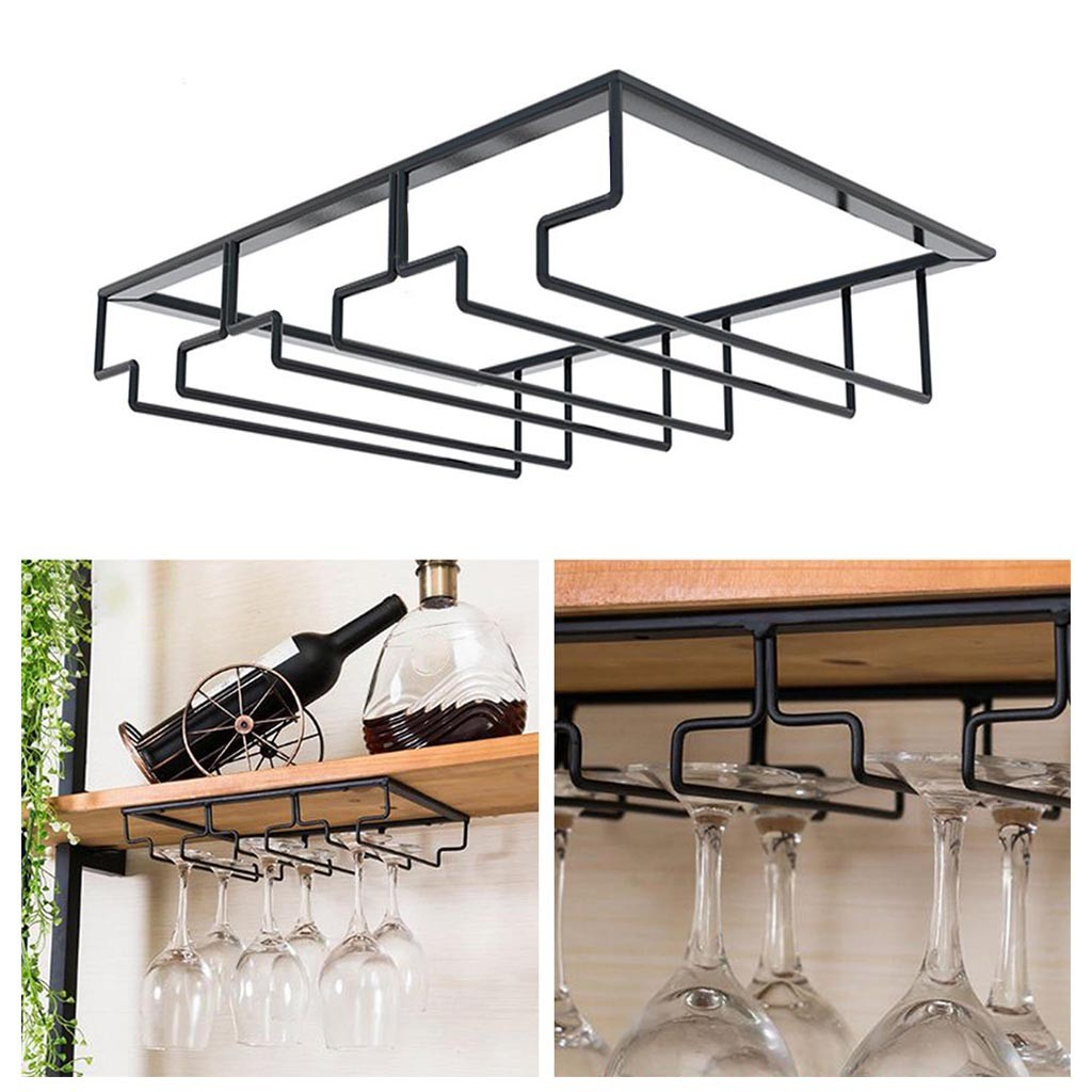 Under Cabinet Stemware Wine Glass Holder Metal Organizer For Bar Kitchen Black Hanging Wine Glass Rack For Home Storage