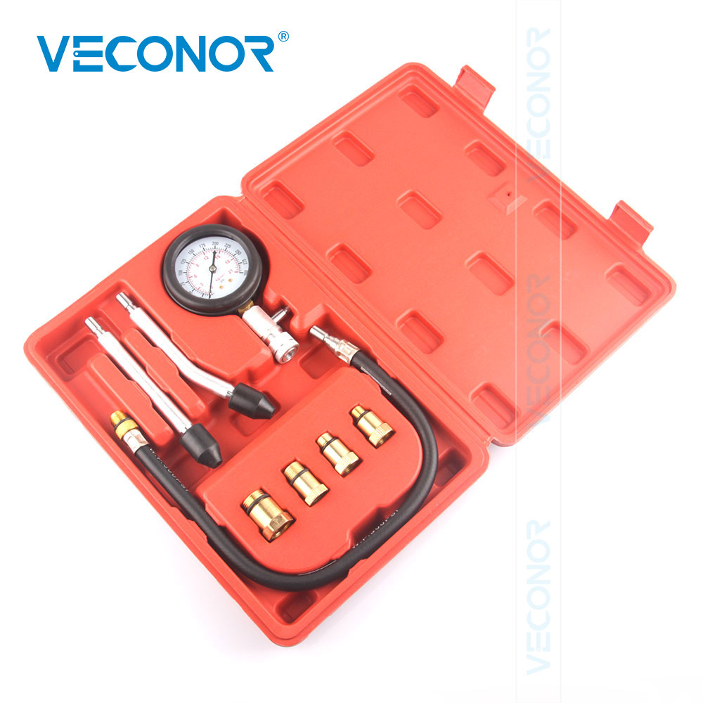 Petrol Engine Pressure Gauge Tester Set Compression Leakage Diagnostic Tool For Car Auto With Red Blow Molded Case