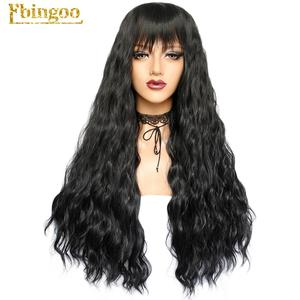 Image 5 - Ebingoo Long Deep Wave White Synthetic Wig with Neat Bangs for Women High Temperature Fiber for Cosplay
