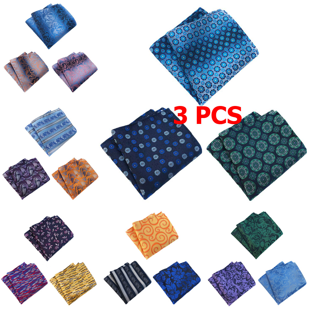 3 PCS Mens Stripe Floral Polka Dots Pocket Square Handkerchief Wedding Hanky
