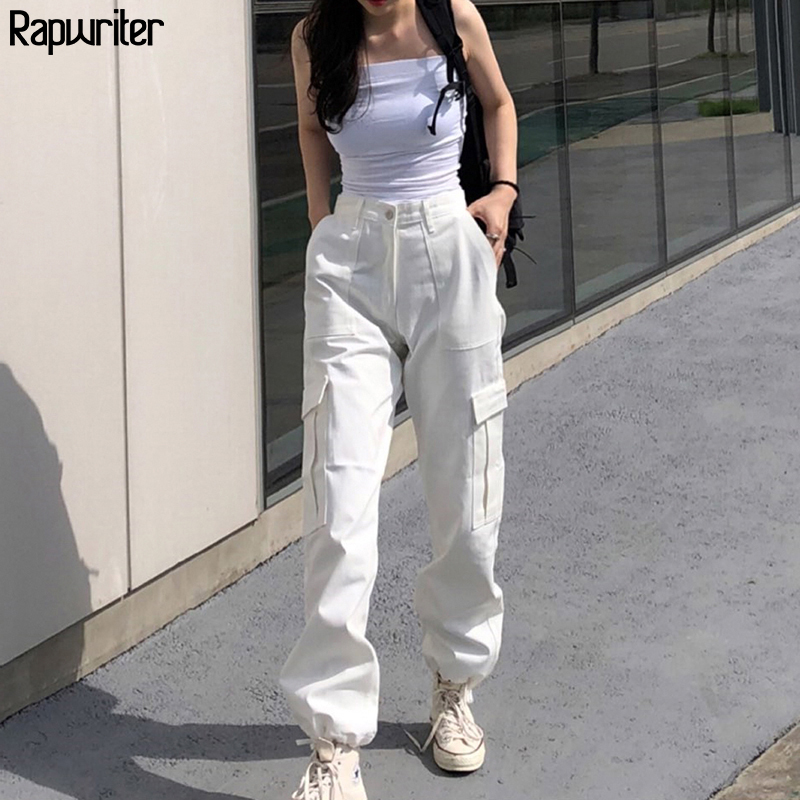 Rapwriter Streeetwear Elastic High Waist Pants Cargo Pants Women 2020 Summer Solid Harajuku Drawstring Joggers Trousers Pocket