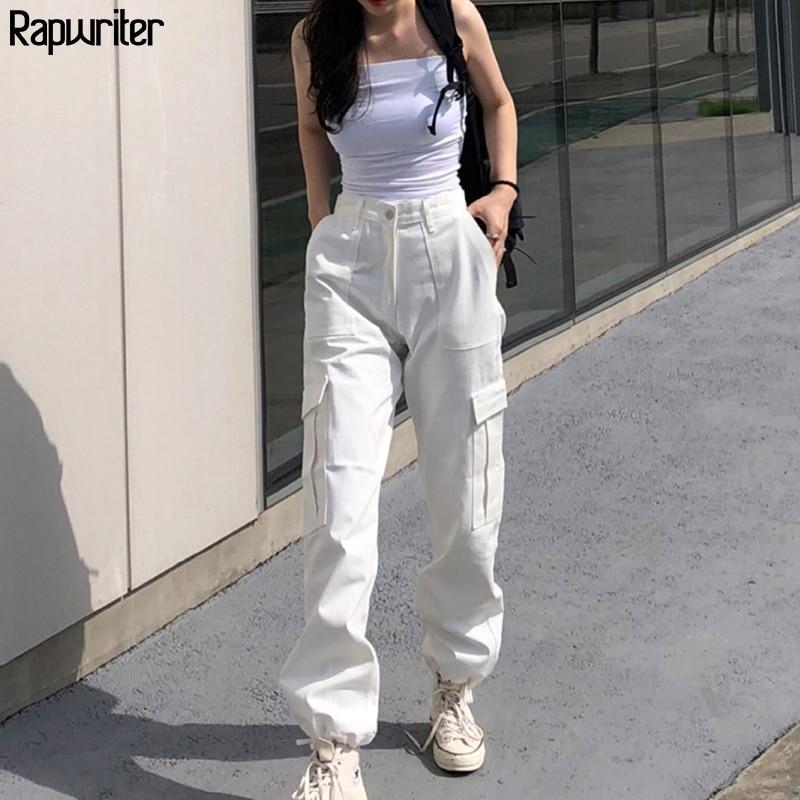 Rapwriter Streeetwear Elastic High Waist Pants Cargo Pants Women 2020 Summer Solid Harajuku Drawstring Joggers Trousers Pocket
