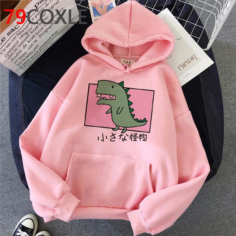 Kawaii Dinosaur Graphic Hoodies Women Funny Winter Warm Cartoon Frog Streetwear Ladies Ullovers Tops Anime Sweatshirts Female 14