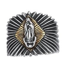 925 Sterling Silver Vintage Virgin Mary Opening Ring Women Men Adjustable Ring недорого