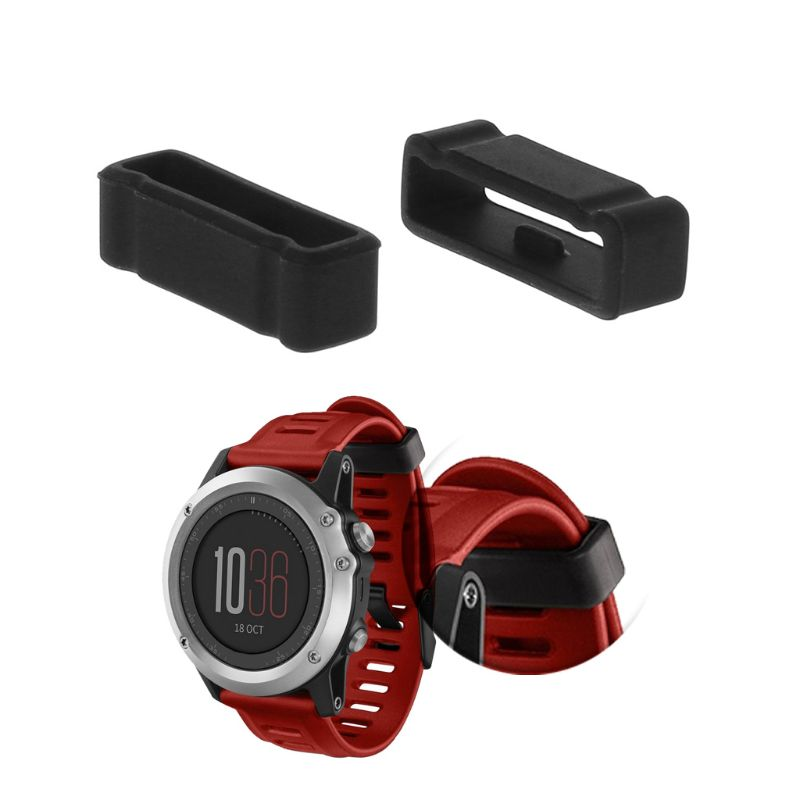 2PCS Strap Retaining Hoop Loop Ring Smart Watch Band Rubber Retainer Buckle Holder Keeper Replacement Black for Garmin Fenix3