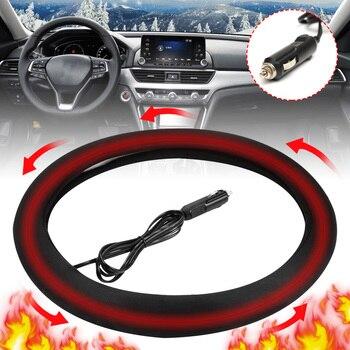 12V Car Steering-Wheel Cover Winter Warm Comfortable Heated Heating Steering Wheel Cover Universal 38cm Steering Covers Heater