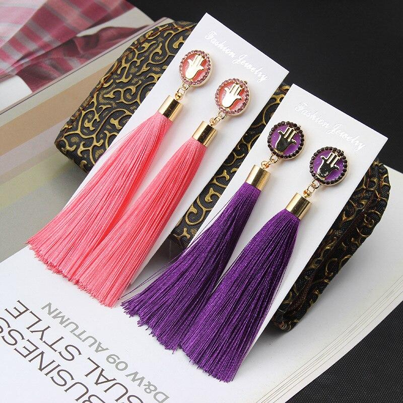 European Fashion Bohemian Tassel Crystal Long Earrings White Red Silk Fabric Drop Dangle Tassel Earrings For Women 2019 Jewelry 1