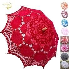 Elegant Cotton Embroidery Lace Parasol Outdoor Summer Sun Umbrellas for Wedding Decoration Photograph Bridal Bridesmaid Umbrella