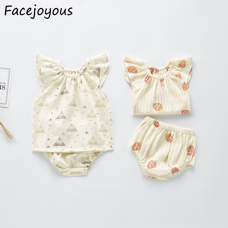 Newborn Baby Girl Clothes Summer Outfits Printed Tops+PP Shorts Suit Infant Girl Cotton Clothing Set Cute Princess Baby Costume