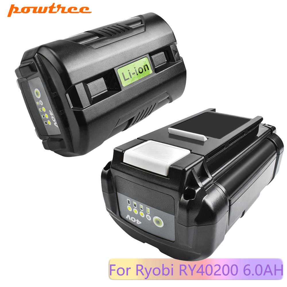Powtree <font><b>6000mAh</b></font> 40V For Ryobi RY40200 Li-ion Battery OP40401 OP4050 OP4050A Replacement RY40502 RY4020 0 RY40400 image
