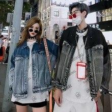 Уличная свободная мешковатая джинсовая куртка для мужчин и женщин больше размера d повседневная черная серая потертая ткань размера плюс верхняя одежда пальто мужская одежда