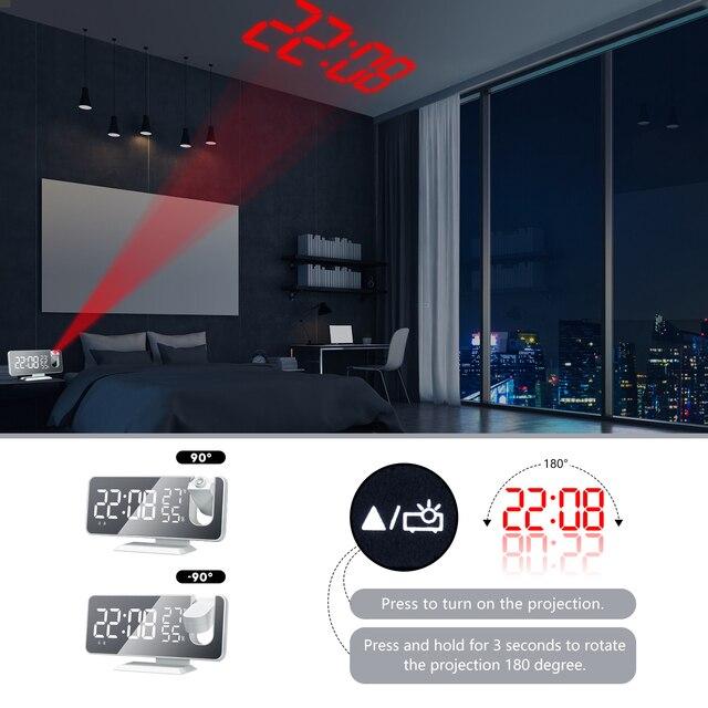 LED Digital Alarm Clock Watch Table Electronic Desktop Clocks USB Wake Up FM Radio Projector Bedroom Snooze Function 2 Alarm 4