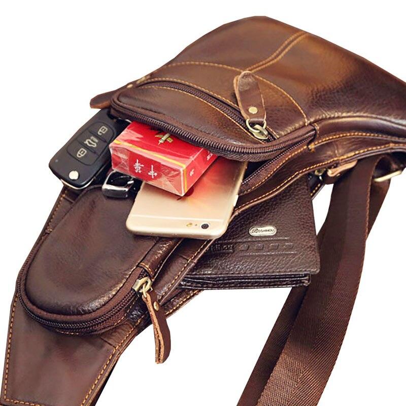 Image 5 - Leather Vintage Sling Bag Handbags for Men Travel Fashion Cross Body Messenger Shoulder Chest Bag High Quality Day PackCrossbody Bags   -
