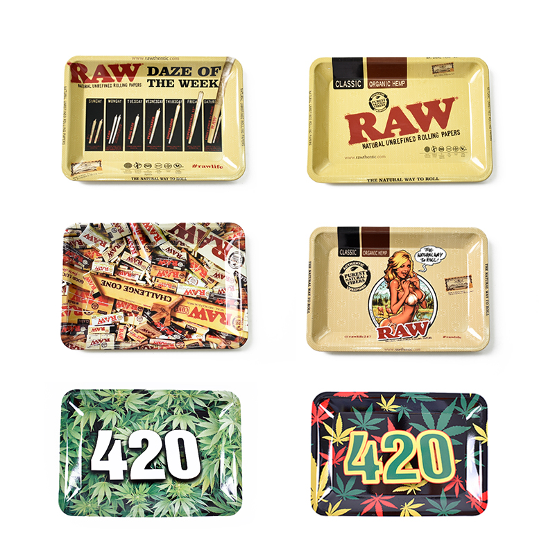 18*12.5 Cm Cigarette Raw Smoking Papers Accessories Dish Unisex Table Small Metal Tobacco Storage Plate Discs For Herb Grinder