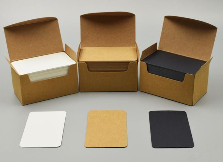 3 Boxes Size 90*50mm Blank Black/White/Kraft Cardstock Thick Paper Business Index Card Gift Tags 200gsm You Choose Color