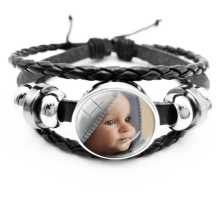 Handmade Personality Photo Family Portrait Children Dad Mom Brothers Sisters Any Picture Custom Men's Leather Bracelet