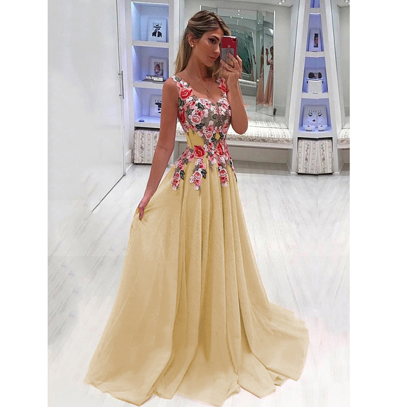 2020 <font><b>AliExpress</b></font> Wish Hot Selling Princess <font><b>Dress</b></font> Printed <font><b>Dress</b></font> Cross-Border Supply Maxi <font><b>Dress</b></font> MI0746 image
