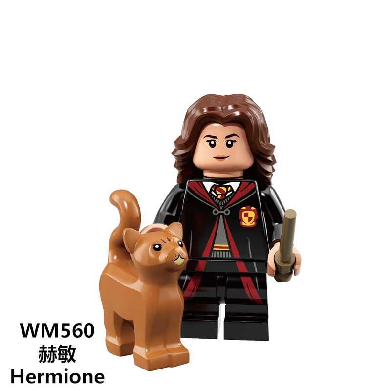 Film Seri Harry Blok Bangunan Aksi Figur Hermione Ron Dumbledore Dobby Weasley Model Blok Kit Playmobil Mainan untuk Anak-anak