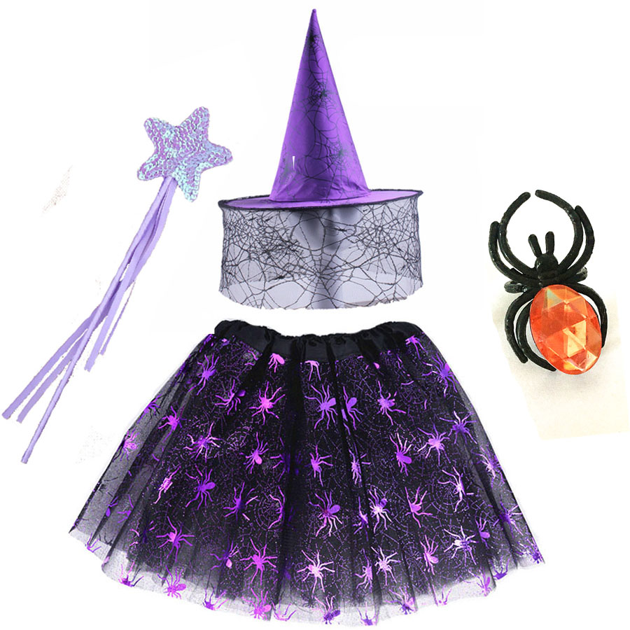 Witch Wizard Suit Clothes Spider Web Skirt Cobweb Rings Wands Hat Party Outfits Carnival Halloween Cosplay Kids Girls Decor
