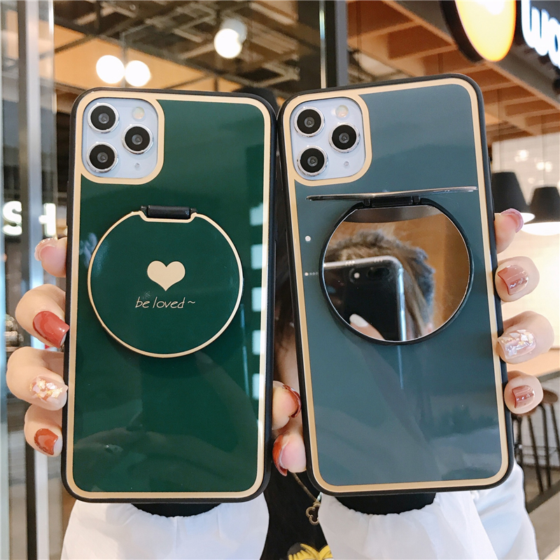 Tempered Glass Mirror Love Heart <font><b>Case</b></font> For <font><b>OPPO</b></font> Realme X2 X R17 K1 K3 K5 Reno 2Z <font><b>A57</b></font> A59 A73 A83 F11 A9 2020 A11X F9 A3 A3S Cover image