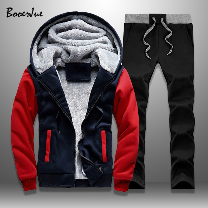 Casual Mens Tracksuit Winter Patchwork Men Set Thick Fleece Jackets + Pants 2 Pieces Sets Warm  Hoodie SuitsMen's Sportswear