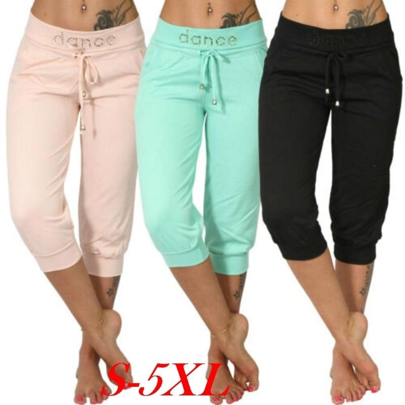 Summer Women Pocket Pants Elastic Waist Solid Casual Jogging Capri Dance Paisley Drawstring Sport Fitness Trousers Sweatpants