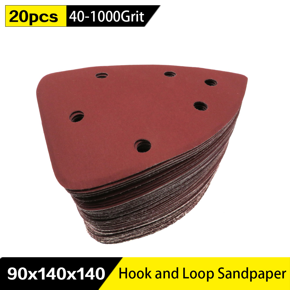 20pcs Self-adhesive Sandpaper Triangle 6 Holes Delta SanderHook Loop Sandpaper Disc Abrasive Tools For Polishing Grit 40-1000