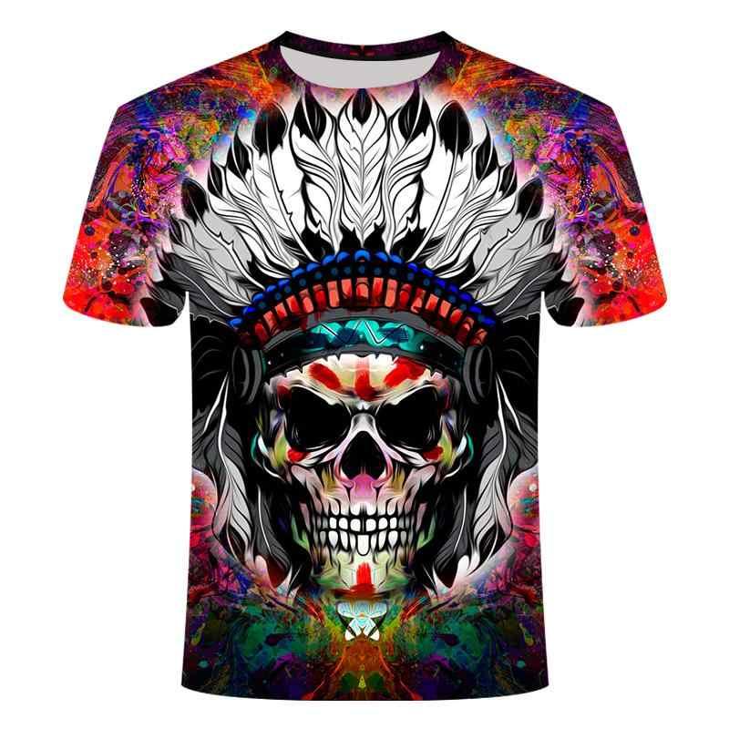2020 人気 3Dスカルプリントtシャツ男性と女性のtシャツ夏カジュアルストリート半袖クルーネックtシャツアジアサイズ