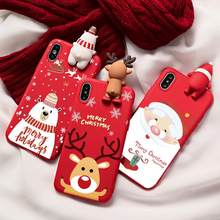 Natal Kartun Rusa Case untuk iPhone 11 Pro XS Max X 7 8 6 6 S Silicone Matte Cover untuk iPhone 7 8 6 S 6 S Plus 7Plus Case Bear(China)