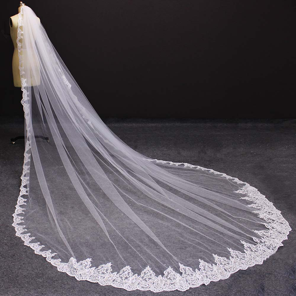 Long Lace Wedding Veil With Bling Sequins 4 Meters White Ivory Bridal Veil With Comb One Layer Bride Veil Wedding Accessories