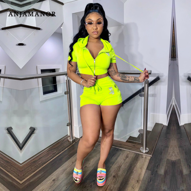 ANJAMANOR Diamonds Letter Neon Sexy Shorts Crop Top Two Piece Set Summer Tracksuit 2 Piece Sets Womens Club Outfits D89-AF08