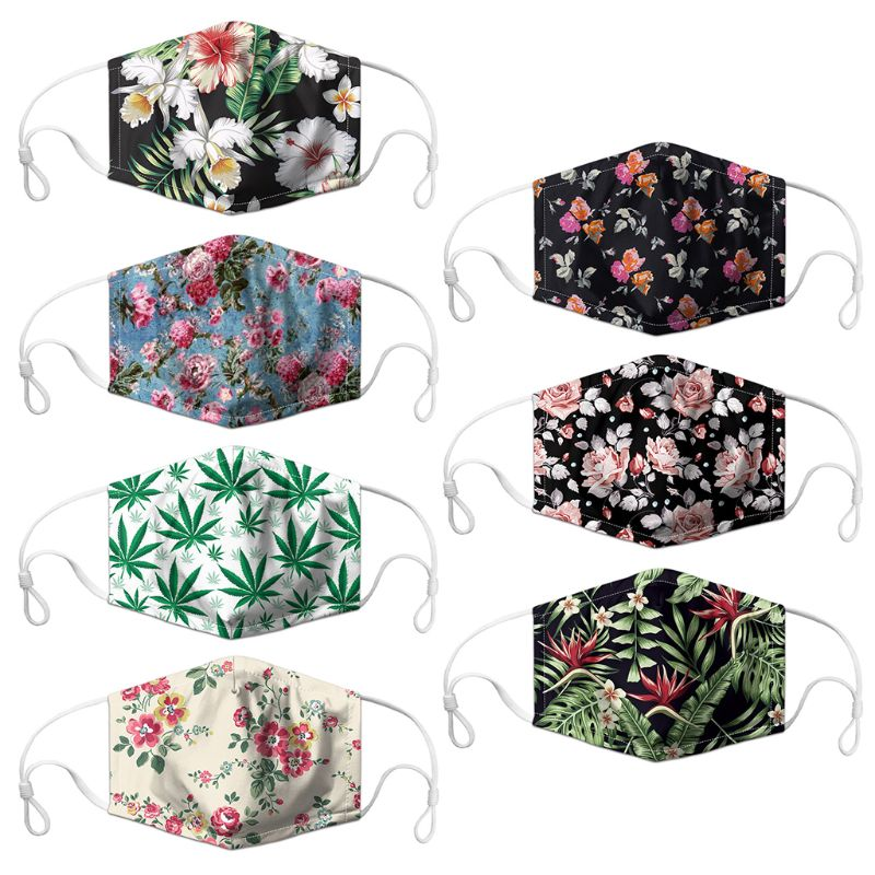 Anti Dust Mouth Mask Flower Printed Replaceable Filter Washable Mouth-Muffle M6CC