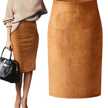 Bodycon Skirts Elastic Midi Suede Sexy Office Lady High-Waist Fashion Women Saias Multi-Color