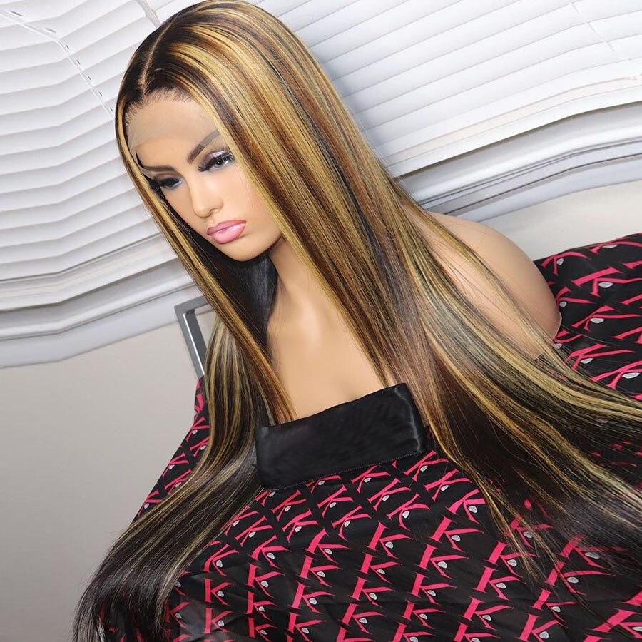 13*6 Remy перуанские 150% Омбре человеческие волосы парики #4/27 Выделите фронта шнурка человеческие волосы парики шнурка прямые волосы Быстрая доставка - 4